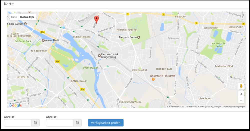 Karte auf Homepage für Feriebwohnung