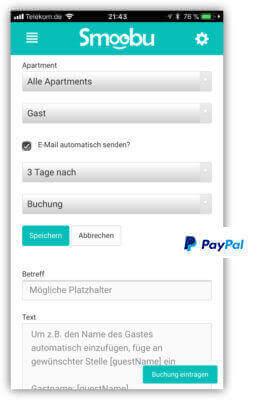 Autmoatisches versenden von Mails an Gaeste von Fewos und Paypal links