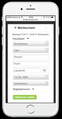 Einfahc mobil AVS Meldescheine und karten generieren