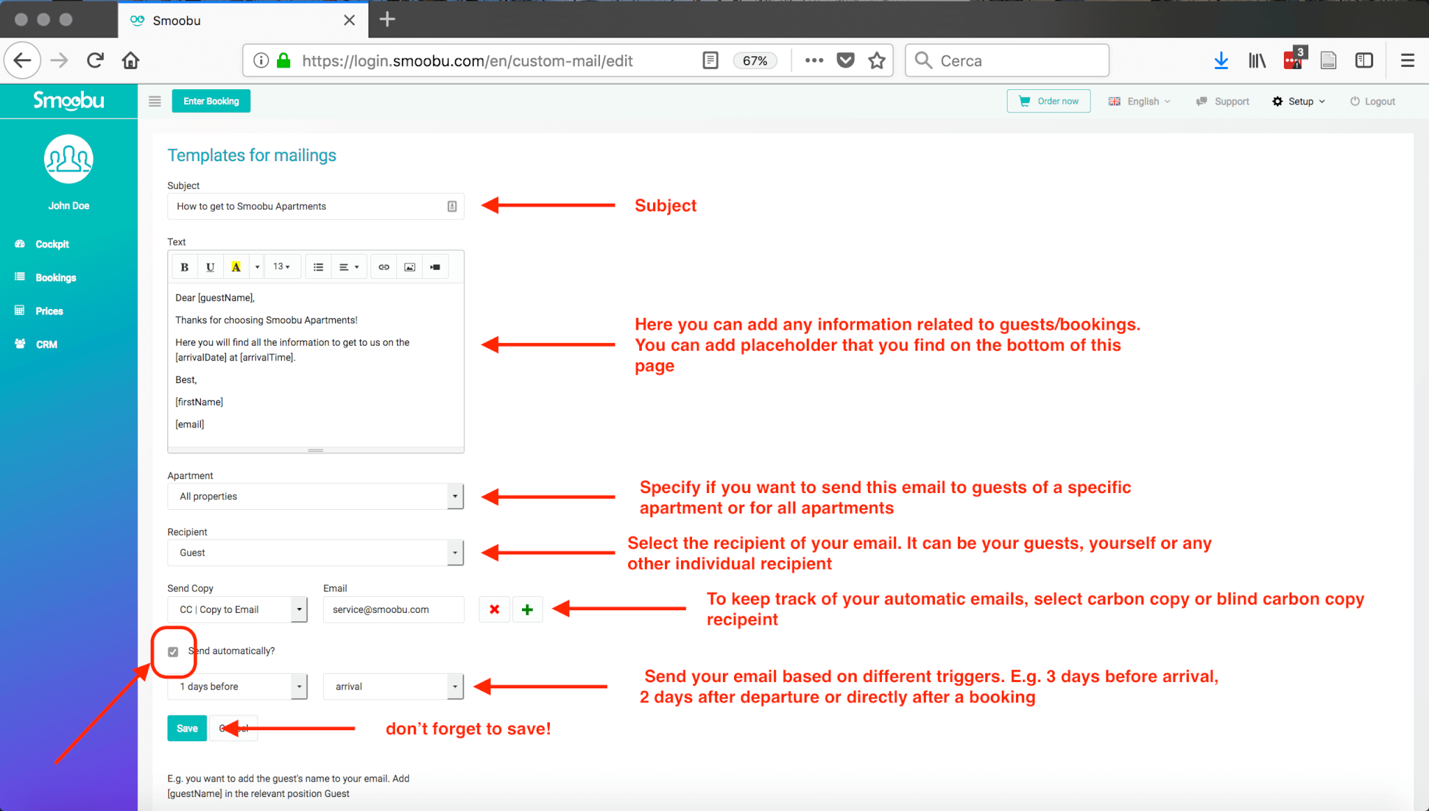 ᐅ USER GUIDE: how to send messages based on triggers such as booking, arrival or departure