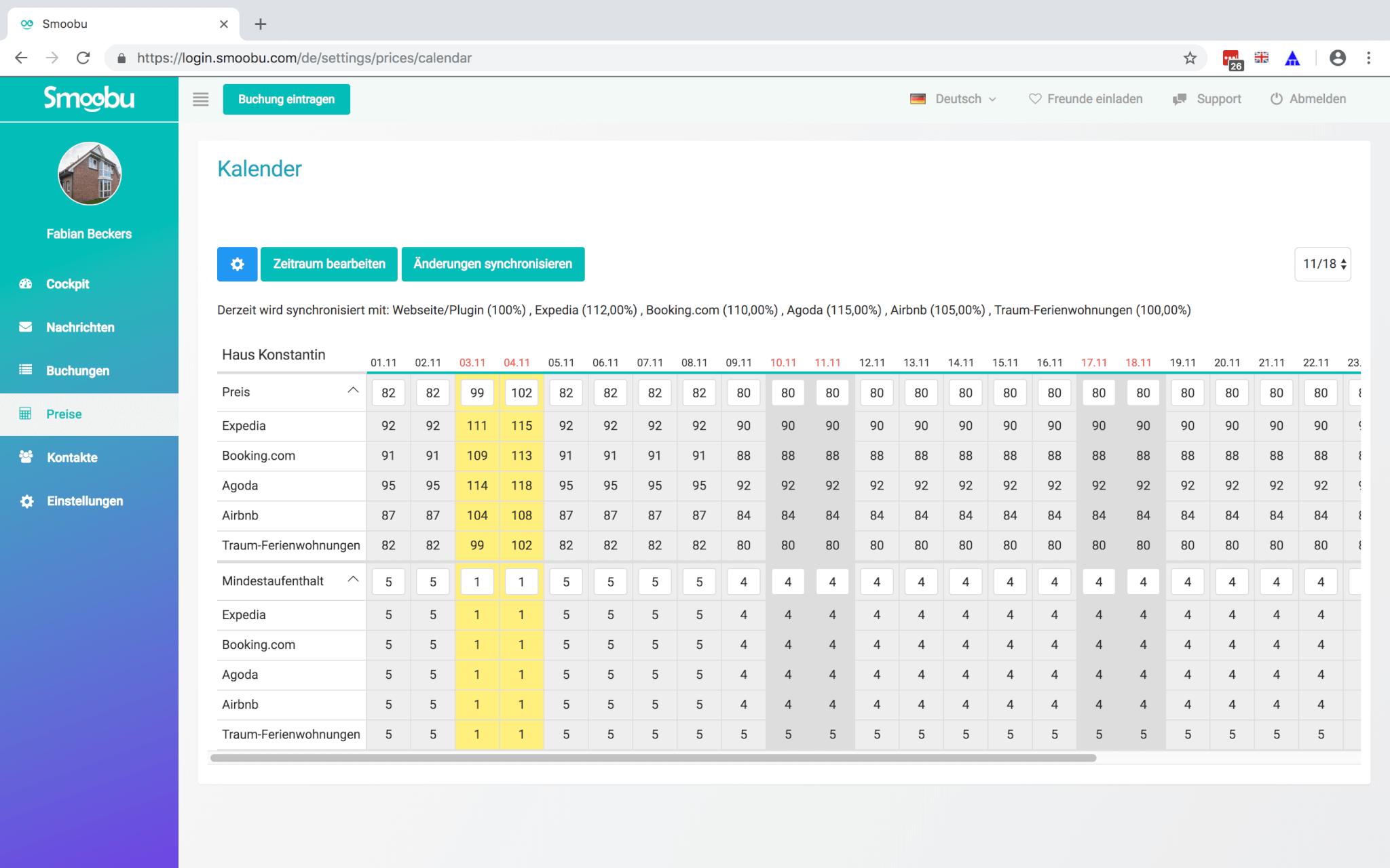 Mit Smoobu Channel Manager ganz einfach fuer deine Fewo die Preise synchronisieren und Mindestaufenthalte bestemmen