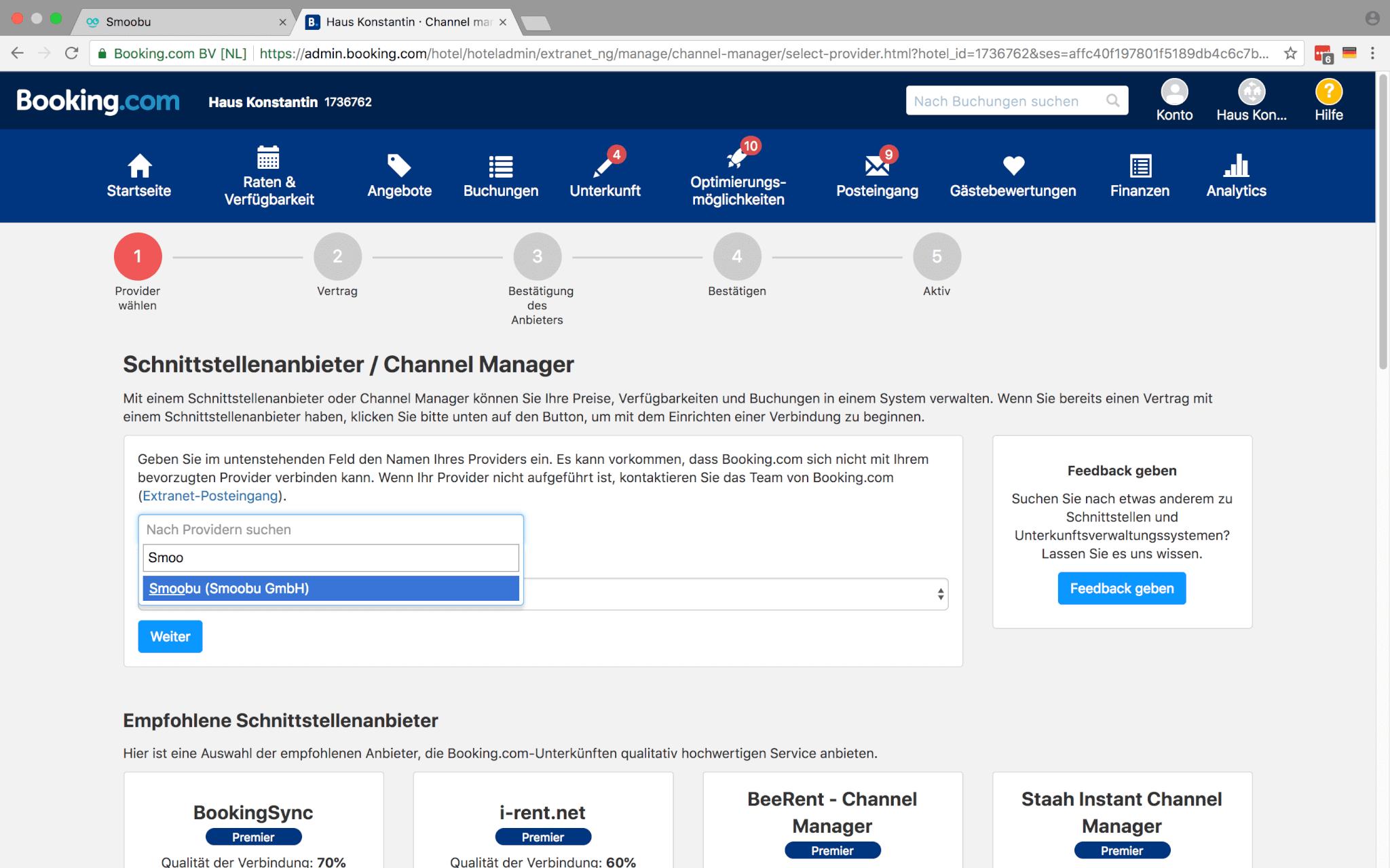 Der Screenshot zeigt Booking.com Schnittstellenpartner Smoobu zum Auswählen