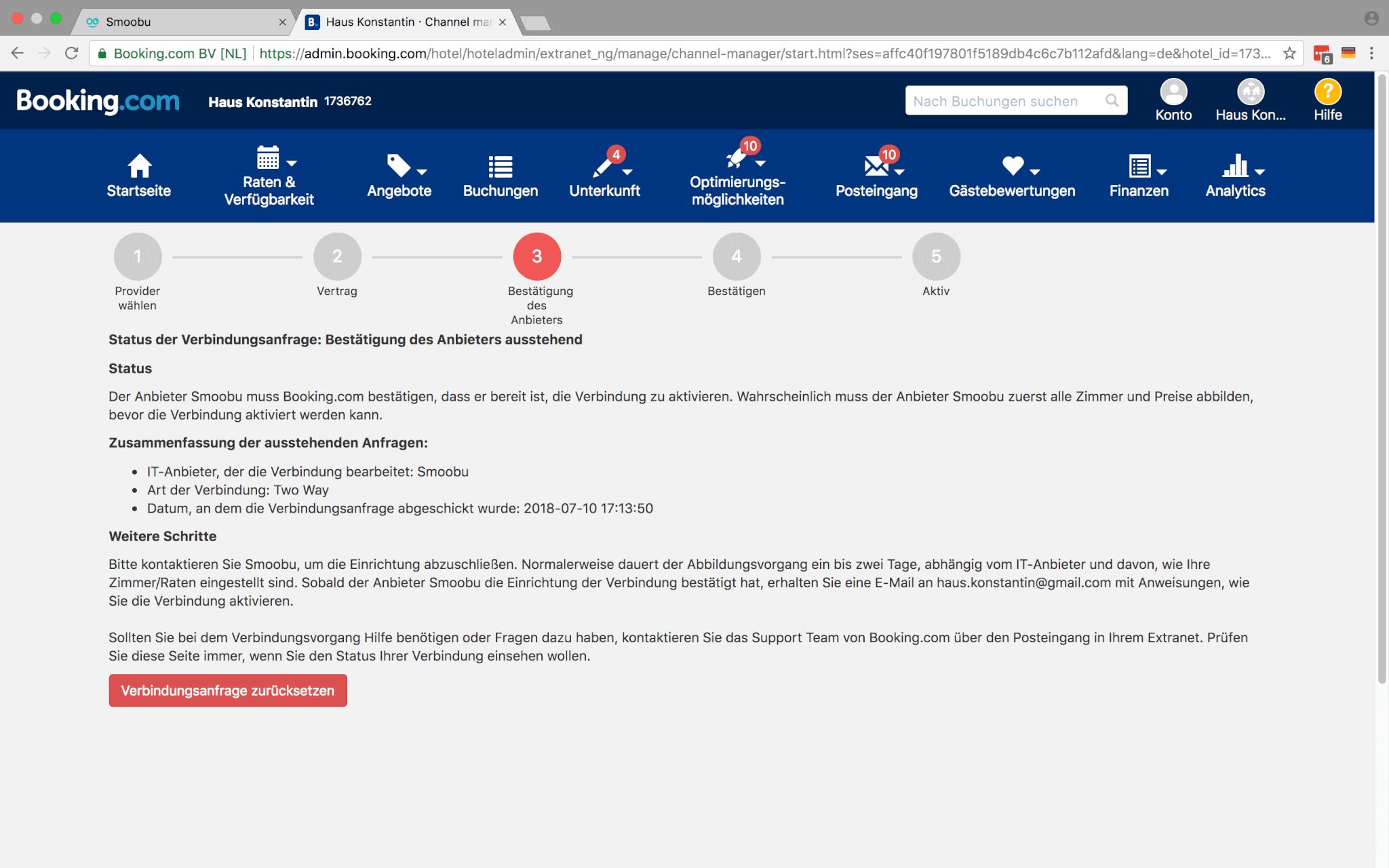 Die letzten Schritte der Schnittstellenanbindung macht Smoobu für dich bei Booking.com