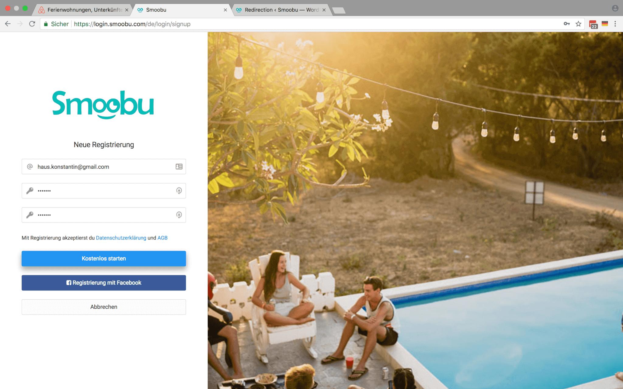 Die Registrierungsseite des Smoobu Channel Managers
