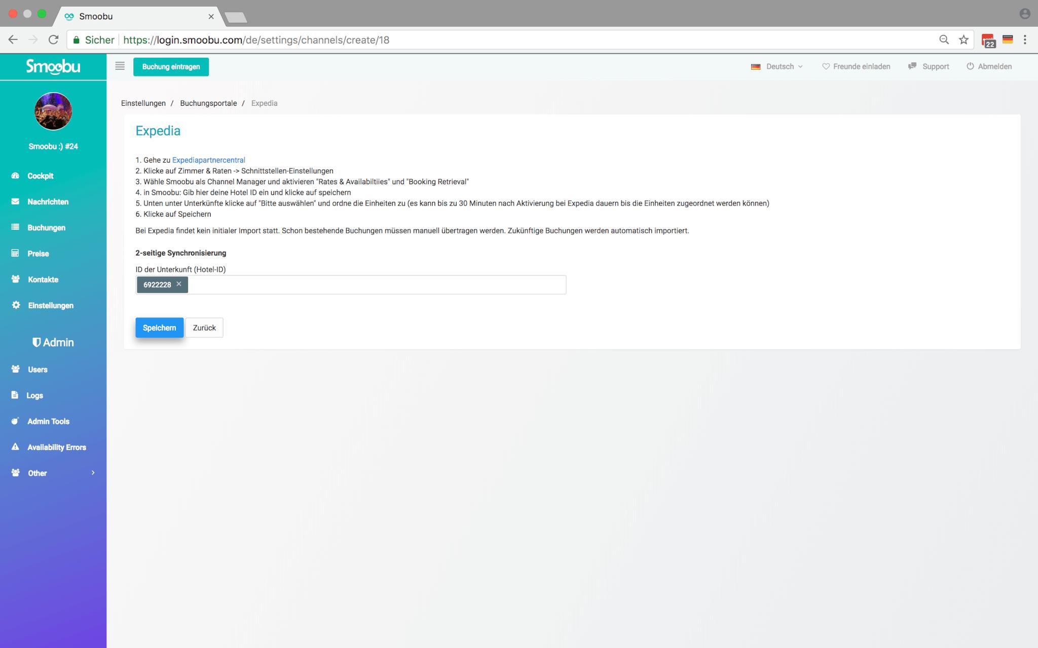 Verbinden Expedia mit Smoobu Channel Manager aus der Portal