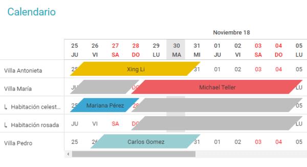 Vista calendario con propiedad completa y subunidades
