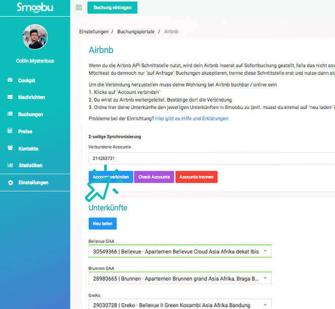 ᐅ Mehrere Airbnb Accounts mit Smoobu verknüpfen