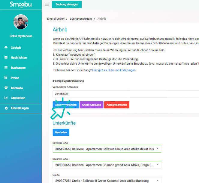 ᐅ Lier plusieurs comptes Airbnb à Smoobu