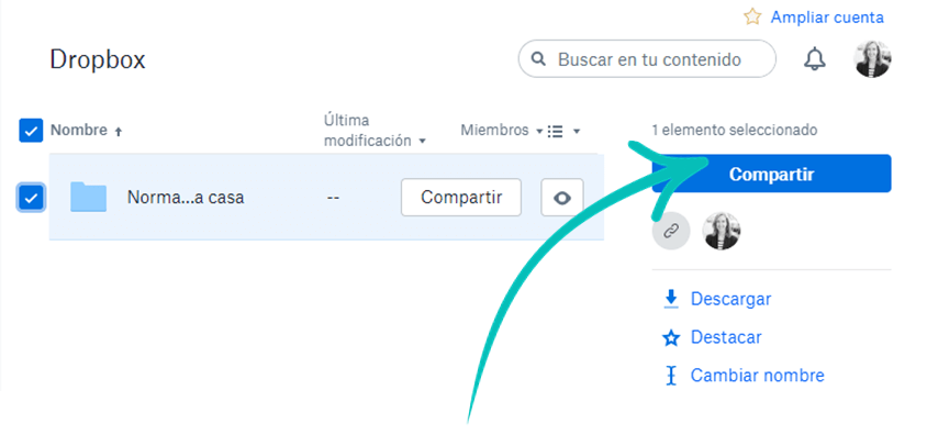 Compartir archivo Dropbox